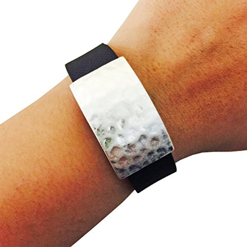 FUNKtional Wearables Roxanna Hammered Metal Charm for  Fitbit Charge/Charge HR, Silver