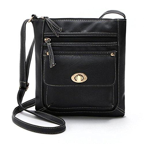 Bag Diagonal Black Zipper Satchel TM Messenger Leather Fulltime Cross Shoulder Womens Body Ac8qnwW0n