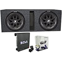 2) Kicker 43C104 10 600 Watt Car Subwoofers + Box + 1100W Amplifier + Wire Kit