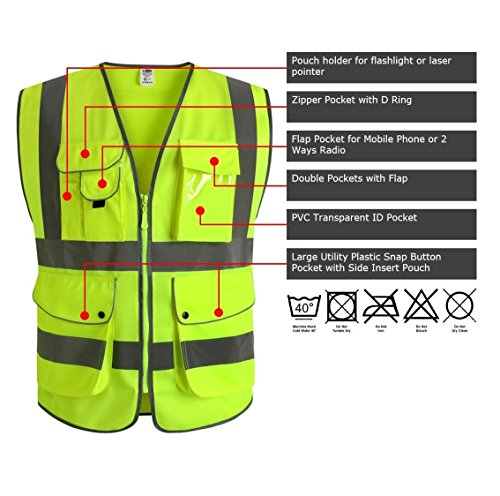 G & F Products 9 Pockets Class 2 High Visibility Zipper Front Safety Vest With Reflective Strips, Yellow Meets ANSI/ISEA Standards (X-Large) by JKSafety (Image #2)