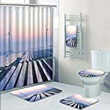 5-piece Bathroom Set-Includes Shower Curtain Liner,before sunrise solar power plants Print Bathroom Rugs Shower Curtain/Bath Towls Sets(Small)