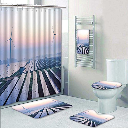 5-piece Bathroom Set-Includes Shower Curtain Liner,before sunrise solar power plants Print Bathroom Rugs Shower Curtain/Bath Towls Sets(Small) by Nalahome (Image #6)