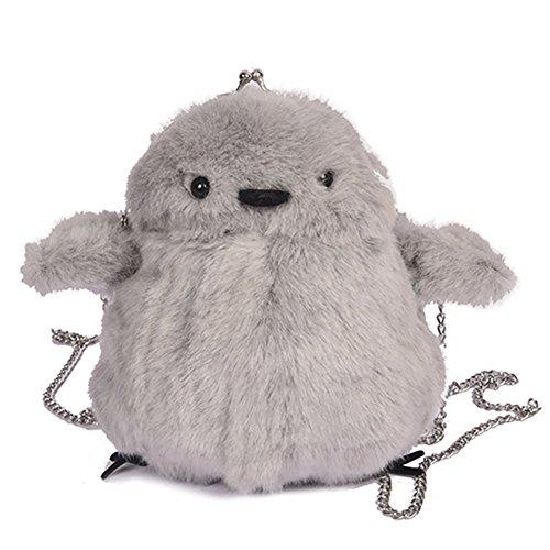 Bag Lovely Gray Fur Shaped QZUnique Carton Shoulder Bag Crossbody Chick Bag Faux HCqnUF