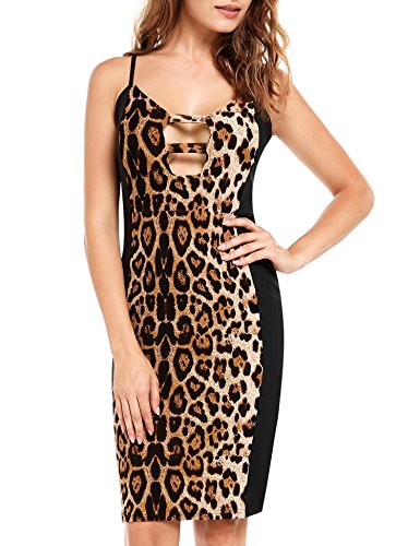 Zeagoo New Bodycon Leopard Sexy Dress Club Cocktail Patchwork Color Fashion Dresses - Sexy Leopard New