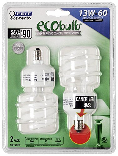 13W/60W Twist CFL Candelabra Base Bulbs (Ecobulb Compact Fluorescent Bulb)