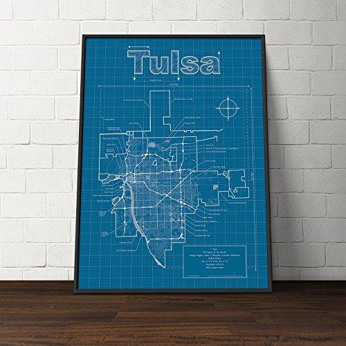 Tulsa, Oklahoma Map - Blueprint Style