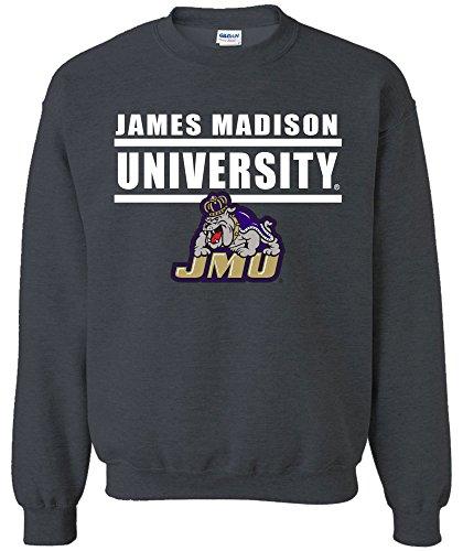 Image One NCAA James Madison Dukes Adult NCAA Bars Logo Crewneck Sweatshirt,Medium,DarkHeather