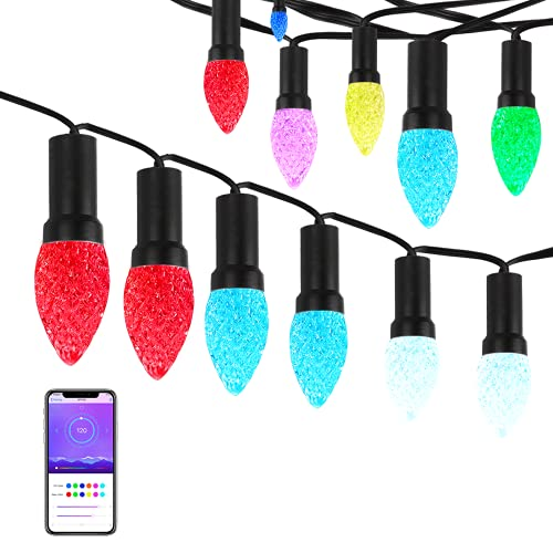 C9 LED String Lights, Color Changing Outdoor Patio Holiday Lights with Bluetooth APP Strawberry Style Glass Like Waterproof for Patio Party Holiday Wedding Birthday [60 LEDs, 23ft]