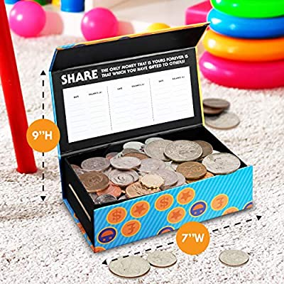 Smart Piggy Bank Trio Set for Kids- 3-in-1 Novelty, Money-Wise Educational Toy for Boys + Girls-Learn About Spending, Saving, Sharing- Large + Unisex Colorful Designs- Perfect Birthday-Christmas Gift: Toys & Games