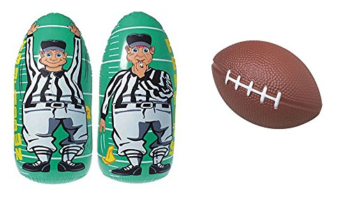 Kid Fun Football Toy Party Favor Supplies 13 Piece Set Bundle Stressballs Inflatable Referee Punching Bag]()