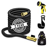 XpandaHose 75ft Expandable Water Garden Hose with Holder - Heavy Duty Triple Layered Latex Core and Free 10 Spray Nozzle with Storage...