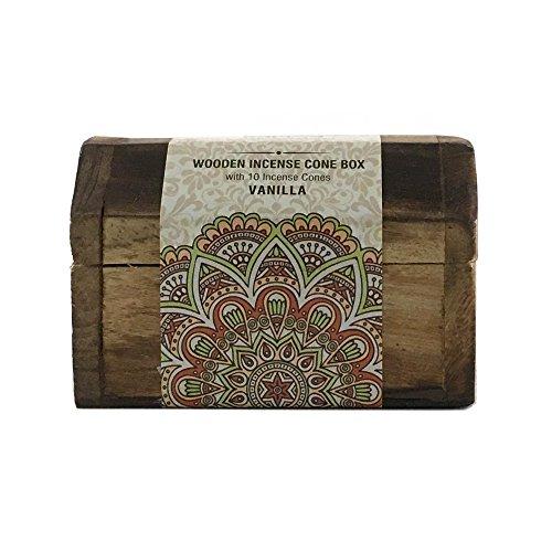 Karma Scents Handmade Mangowood Incense Cone Box with 10 Karma Incense Cones (Vanilla)