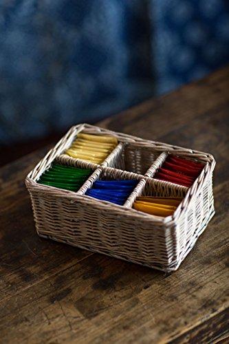 Vagabond Vintage, Handmade Willow Tea Basket with 6 (Wicker Tea)
