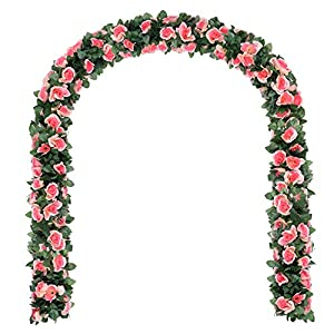 Artificial Flower Rose Vine Garland 8FT/Piece-GreenDec Realistic Artificial Flowers Fake Roses Flowers Plants for Home Kitchen Wedding Party Garden Craft Art Decor 4