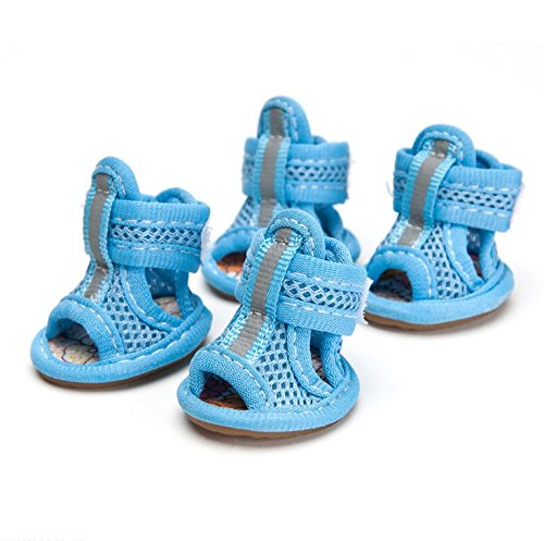 CoCocina Breathable Mesh Material Summer Dog Shoes Anti-Slip Small Animal Boots Paw Productive-Blue-#3