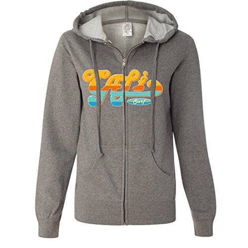 Ladies up Surf Cali Gunmetal Fitted Heather Hoodie Shirt Co Lightweight Zip Dolphin qTw7CIpZc
