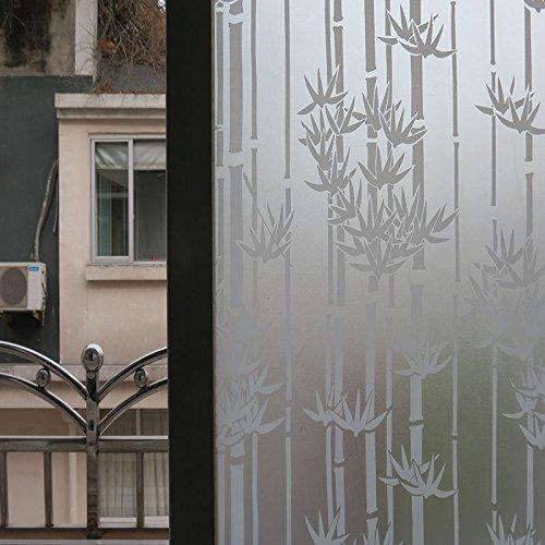 xeno-frosted花円窓ガラスフィルムステッカープライバシーベッドルームバスルームホーム(竹) B074VV23FF