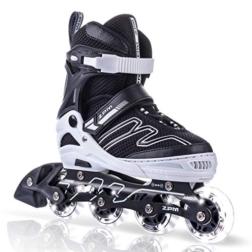 (2PM SPORTS Exthrax Kids Adjustable Inline Roller Skates with Light up Wheels, Fun Flashing Illuminating Rollerblades for Boys Girls - Medium(1-4)
