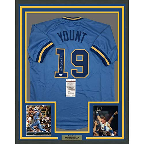 Framed Autographed/Signed Robin Yount 33x42 Milwaukee Blue Baseball Jersey JSA COA