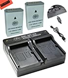 BM Premium 2-Pack of EN-EL24 Batteries and USB Dual Battery Charger for Nikon 1 J5, DL18-50, DL24-85 Digital Camera