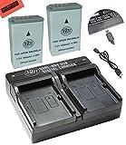 BM Premium 2-Pack of EN-EL24 Batteries and USB Dual Battery Charger for Nikon 1 J5, DL18-50, DL24-85 Digital Camera