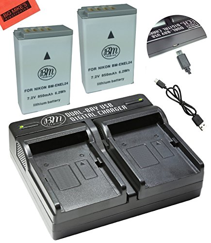 BM Premium 2-Pack of EN-EL24 Batteries and USB Dual Battery