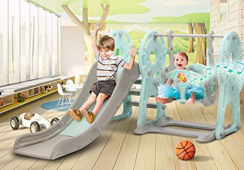 KINGSO Slide and Swing Set for Toddlers 4 in 1 Kids Slide Sturdy Toddler Playground Indoor Outdoor Slide Climber Toy Playset Basketball Hoop Extra Long Slide Easy Setup Backyard Kids Activity(Blue)