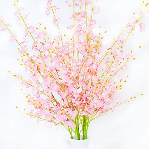 """Misswarm 10 Pieces 37.7"""" Long of Orchid Dancing lady Butterfly Artificial Flower Artificial flowers Fake Flower for Wedding Home Office Party Hotel Restaurant Patio or Yard (Butterfly Flower Vase)"""