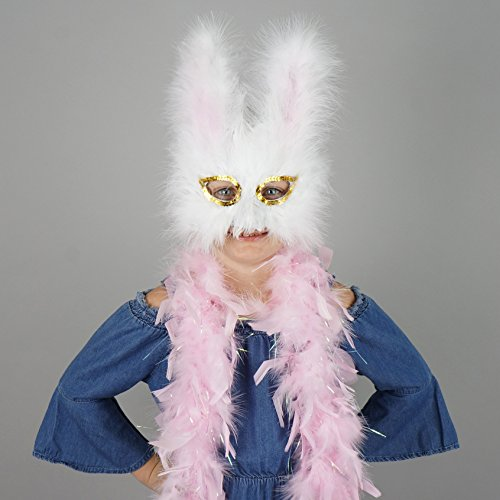 (ZUCKER Feather Boa with Feather Bunny Mask Set - Pink)