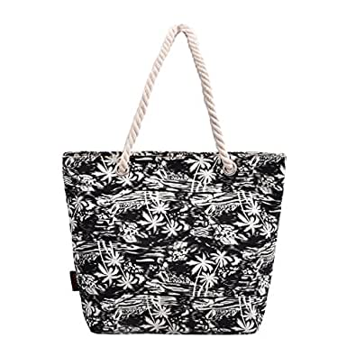 DGY Women's Print Canvas Tote Bag Beach Bag Shopping Bag Shoulder Bag with Thick Rope G00252 (Black Coconut)