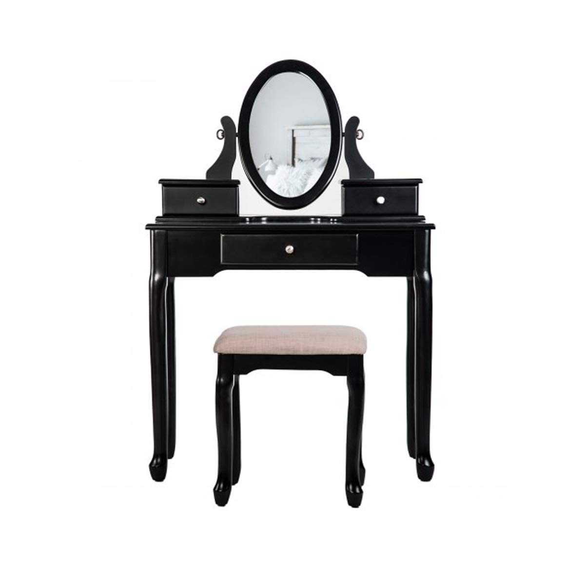 TONGBOSHI Dressing Table with Dressing Table, 3 Drawers and Mirror Bedroom (Black, White) (Color : Black)