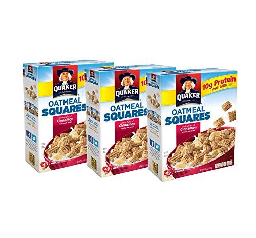 - Quaker Oatmeal Squares, Cinnamon, 14.5oz Boxes, 3 Count