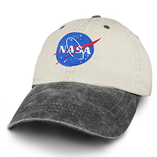 Armycrew NASA Insignia Embroidered Two Tone Pigment Dyed Cotton Cap - Beige Black ()