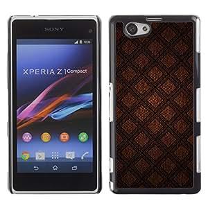 Be Good Phone Accessory // Dura Cáscara cubierta Protectora Caso Carcasa Funda de Protección para Sony Xperia Z1 Compact D5503 // Abstract Brown Diamond Quilt