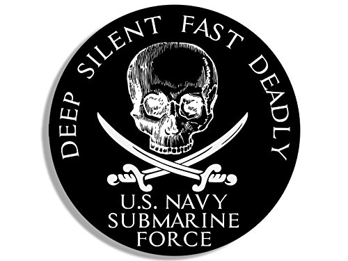 American Vinyl Round US Navy Submarine Force Deep Silent Fast Deadly Sticker (sub Naval Skull)