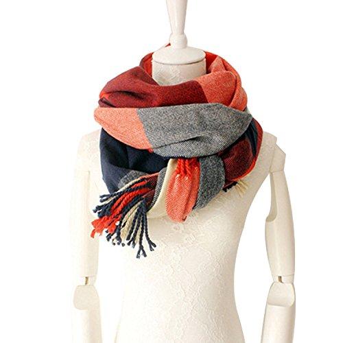 Women's Plaid Blanket Scarf Winter Big Tartan Wrap Shawl Blanket Plaid Flannel