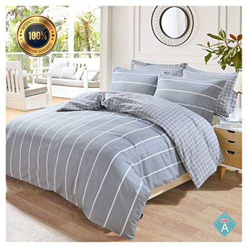 5 Piece Duvet Cover Bedding - Taiyihome 5-Piece Duvet Cover Set,100% Cotton,Reversible Soft Gray Duvet Cover,Hypoallergenic(2,Queen)
