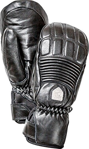 - Hestra Mens Ski Gloves: Fall Line Winter Cold Weather Leather 3-Finger Mittens, Black, 8