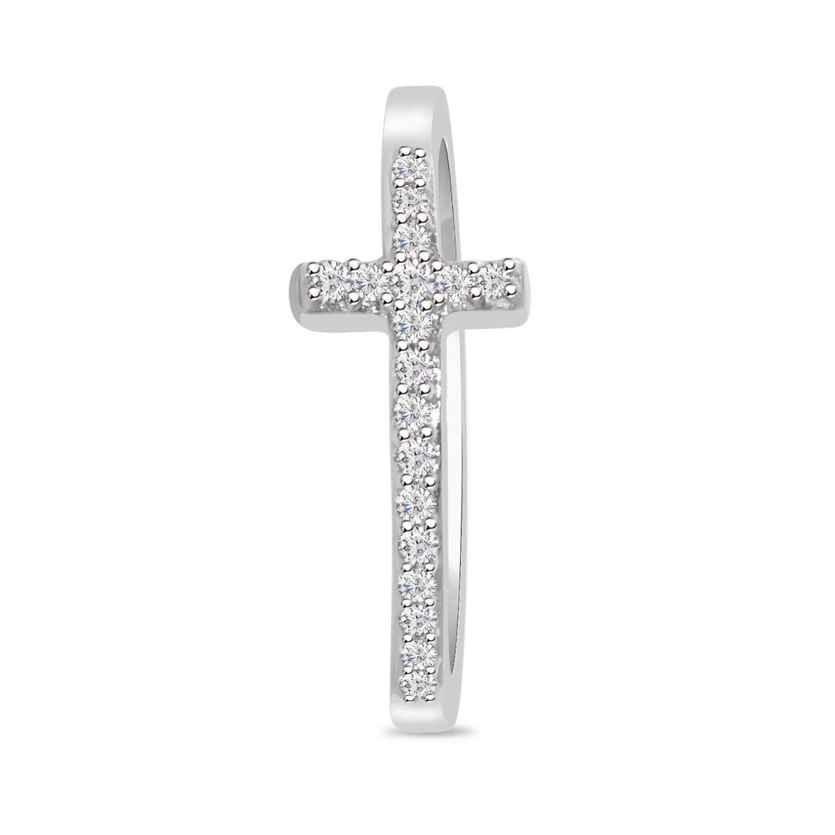 DiscountHouse4you 14k Gold Over Simulated Diamond Sideway Cross Pendant Necklace for Women Ladies