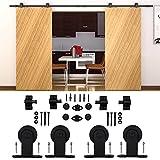 KIRIN Antique Rustic Style Double Barn Sliding Doors Hardware For Wooden Door T Shape Track Kit (14FT)