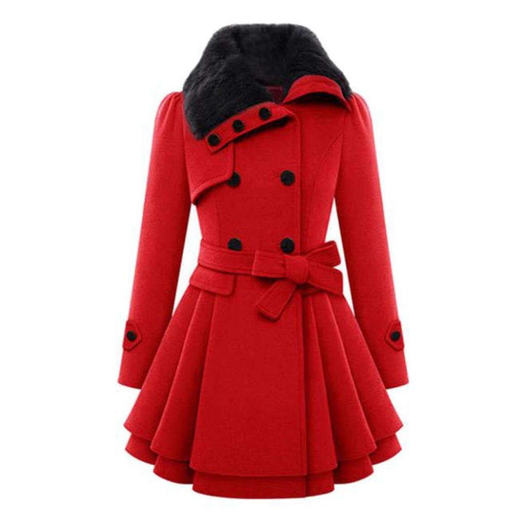 dff6b81a041 Napoo Clearance! Women Plus Size Winter Button Hooded Fleece Warm Belted  Thick Parka Overcoat … (3XL