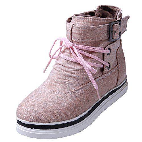 Latasa Womens Buckle and Strap Lace-up Ankle Fabric Boots Pink yEnnonnkad