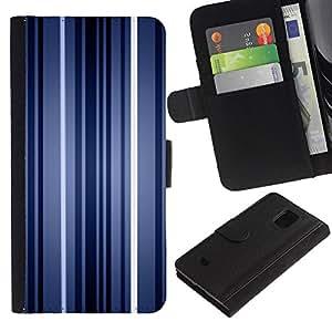 Paccase / Billetera de Cuero Caso del tirón Titular de la tarjeta Carcasa Funda para - Stripes Neon Blue Light Wallpaper Lines - Samsung Galaxy S5 Mini, SM-G800, NOT S5 REGULAR!