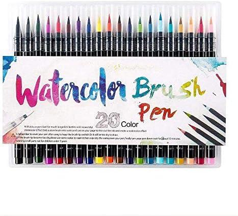 مجموعة أقلام فرشاة ملونة من سكاي تاتش مكونة من 20 قطعة فرشاة ألوان مائية وأقلام التحديد الملونة لتلوين الرسم الكرتوني لفن الخط ولرسم المانغا Amazon Ae