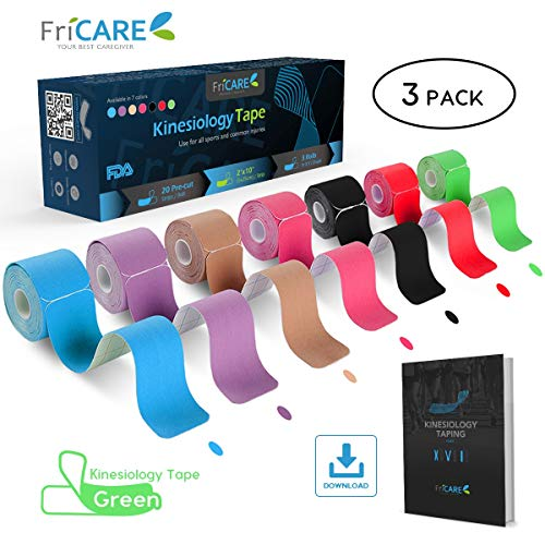 FriCARE Pre-Cut Kinesiology Sport Tape (3 Roll Pack), X Y I Shape, 17ft Athletic Kinetic Strip Aid, Breathable, Water Resistant, Pain Relief Adhesive for Muscles, Shin Splints, Knee&Shoulder (Green)