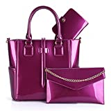 Yardar 3 Set Wax Oiled Composite PU Leather Bag Handbags Women Messenger Bags purple 1 29cmx13cmx25cm