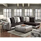 Roundhill Furniture Shimmer Pewter Microfiber Sectional Sofa And Ottoman,  Black Part 69