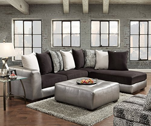 Roundhill Furniture Shimmer Pewter Microfiber Sectional Sofa and Ottoman, Black Microfiber Sectional Sofa Set