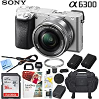Sony a6300 4K Mirrorless Camera ILCE-6300L/S Alpha with 16-50mm F3.5-5.6 OSS Lens (Silver) and Case Extra Battery Memory Card Pro Photograpy Bundle