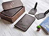 Honeymoon Travel Accessories Mr and Mrs Wedding Gift for Couple Leather Travel Gift Set of 2 Destination Wedding Favor Custom Passport Wallet Personalized Leather Luggage Tag Passport Cover